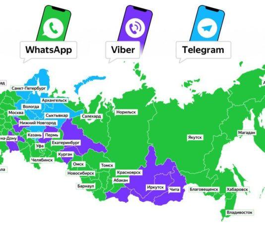 Самые популярные мессенджеры в регионах России
